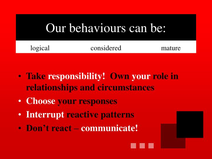 Our behaviours can be: