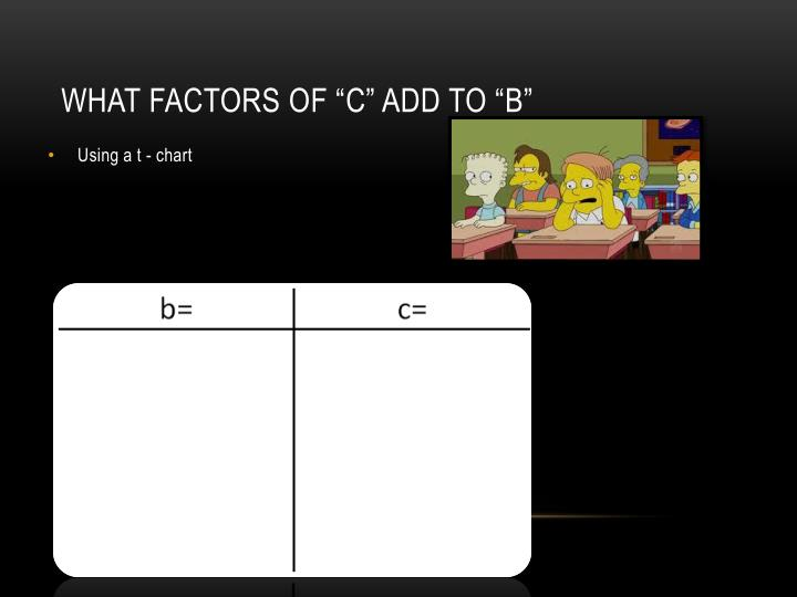 """What factors of """"c"""" add to """"b"""""""