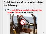 5 risk factors of musculoskeletal back injury
