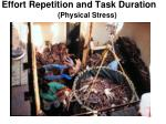 effort repetition and task duration physical stress 2 physiological stress