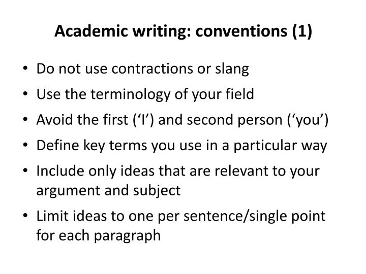 Academic writing: conventions (1)