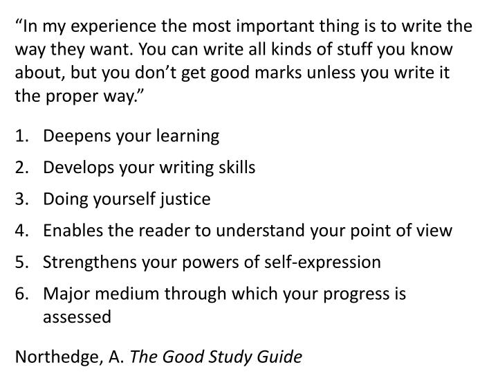 """""""In my experience the most important thing is to write the"""