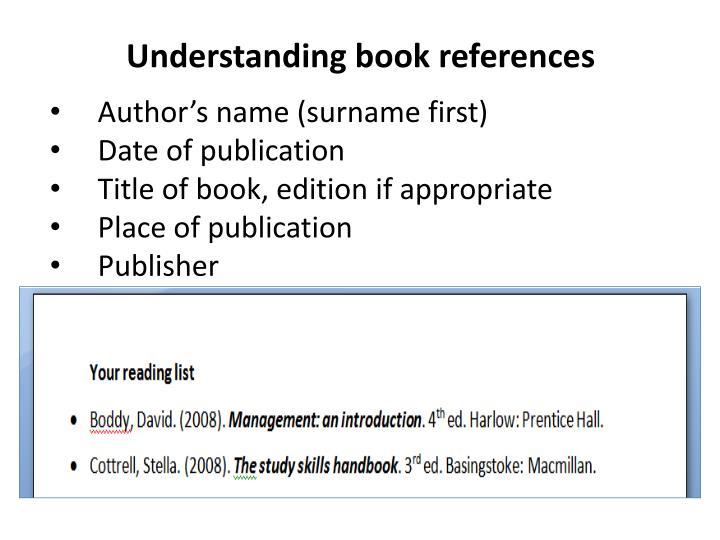 Understanding book references