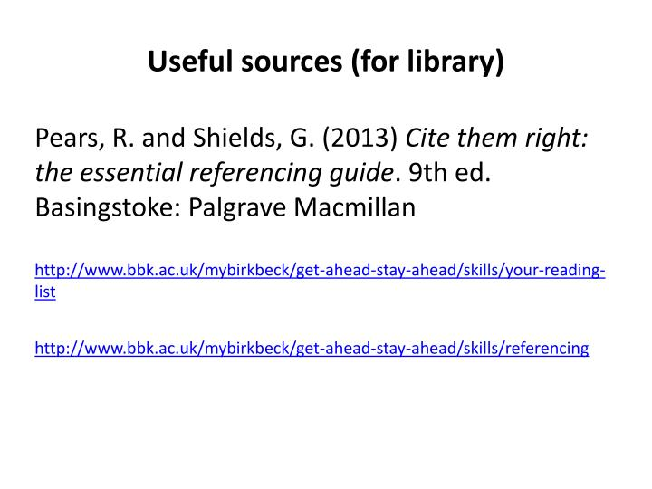 Useful sources (for library)