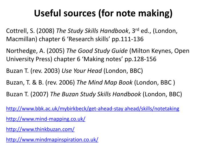 Useful sources (for note making)