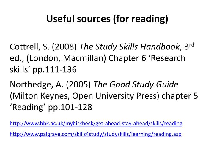 Useful sources (for reading)