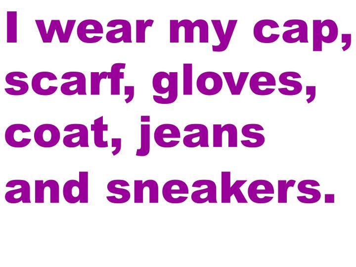 I wear my cap, scarf, gloves, coat, jeans and sneakers.