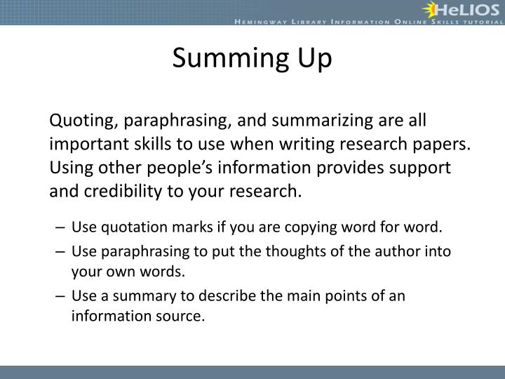 Ppt Quoting Paraphrasing Summarizing Powerpoint Presentation