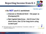 reporting income from k 1