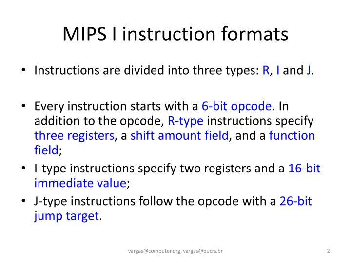Mips i instruction formats