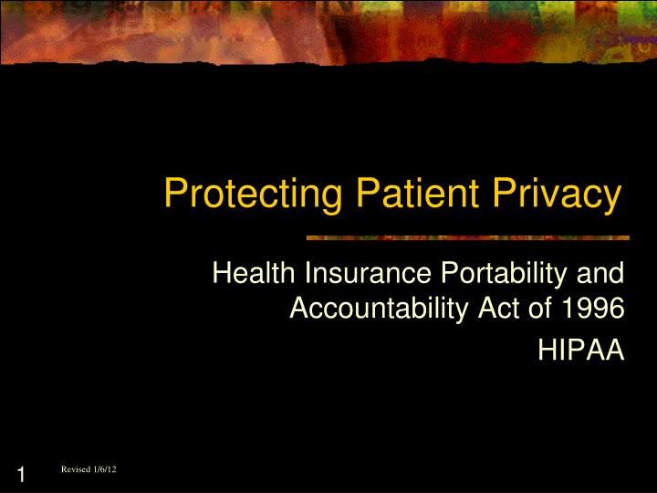 protecting patient privacy n.