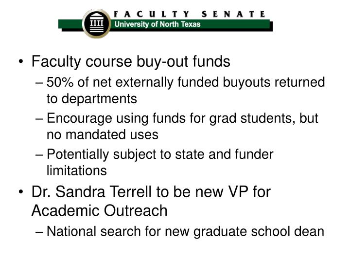Faculty course buy-out funds