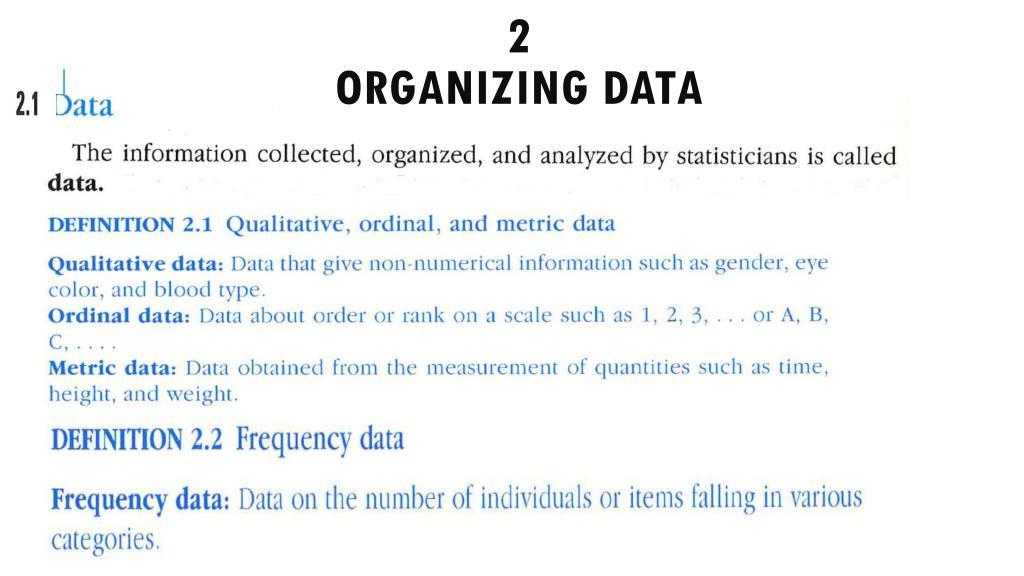 2 organizing data n