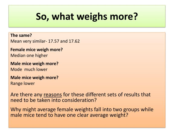So, what weighs more?