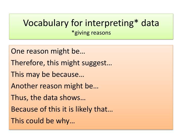 Vocabulary for interpreting* data