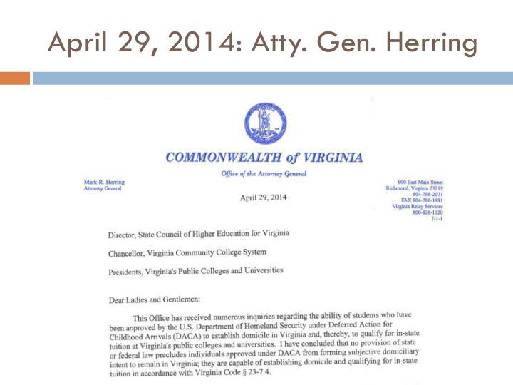 April 29 2014 atty gen herring