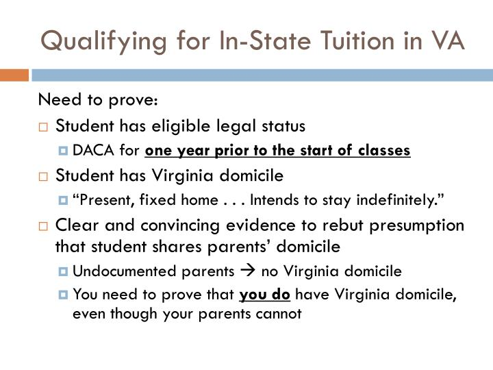 Qualifying for In-State Tuition in VA