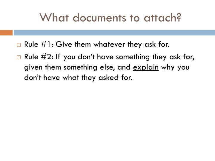 What documents to attach?