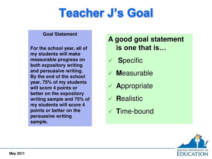 goal statement 1 A good goal statement will always start with an actionable verb for example : -reduce billing errors by 90% by end of second quarter -increase sales call conversion ratio by 50% by 30th april'04.