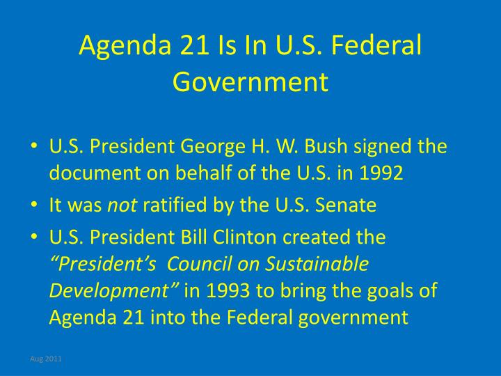Agenda 21 Is In U.S. Federal Government