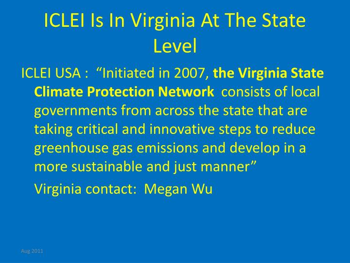 ICLEI Is In Virginia At The State Level