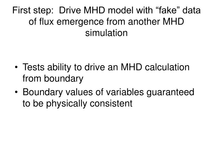 """First step:  Drive MHD model with """"fake"""" data of flux emergence from another MHD simulation"""