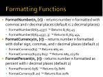 formatting functions