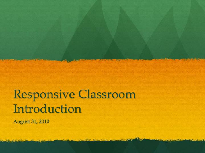 responsive classroom introduction n.