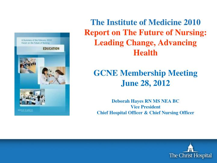 """implementation of the iom future of nursing report Implementation of the iom future of nursing report in a formal paper of 1,000-1,250 words, you will discuss the work of the robert wood johnson foundation committee initiative on the future of nursing and the institute of medicine research that led to the iom report, """"future of nursing: leading change, advancing health."""