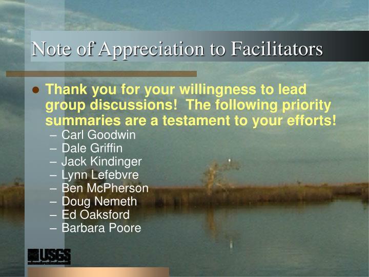 Note of appreciation to facilitators