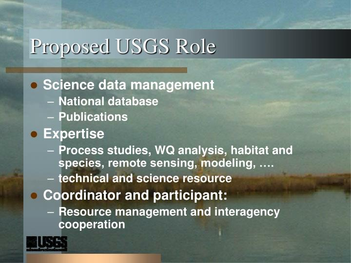 Proposed USGS Role