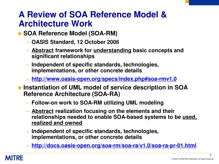 A review of soa reference model architecture work