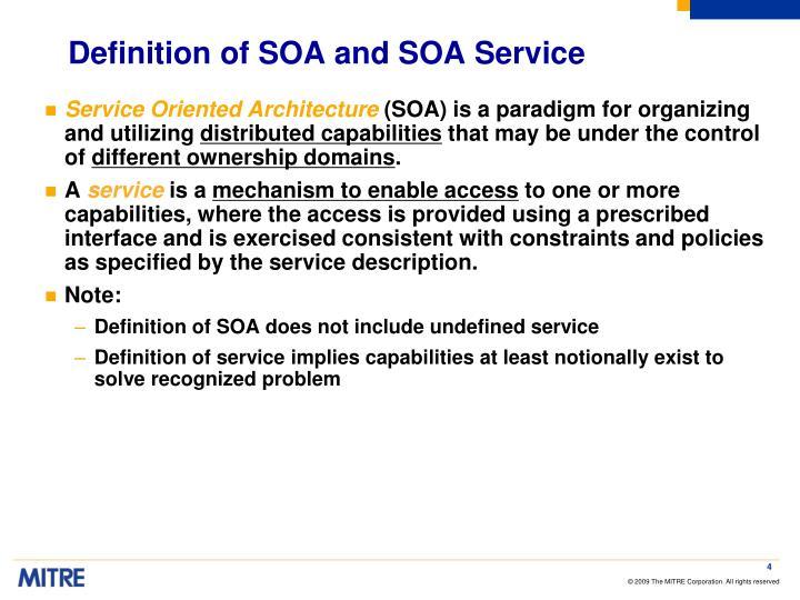 Definition of SOA and SOA Service