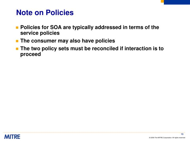 Note on Policies