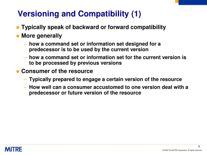 Versioning and Compatibility (1)