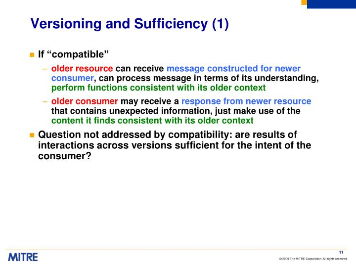Versioning and Sufficiency (1)