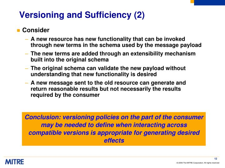 Versioning and Sufficiency (2)