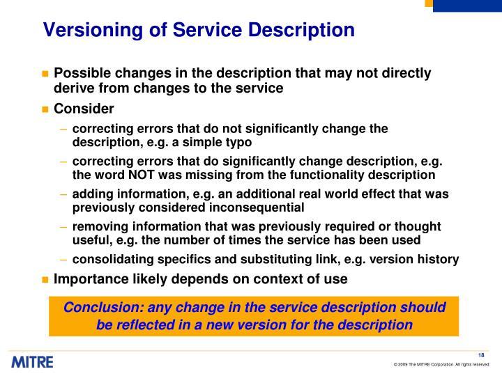 Versioning of Service Description