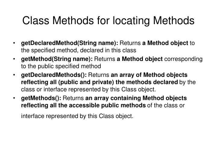 Class Methods for locating Methods