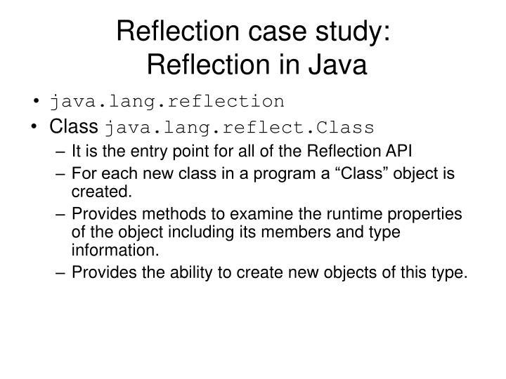 Reflection case study:
