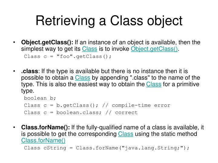 Retrieving a Class object