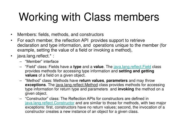Working with Class members