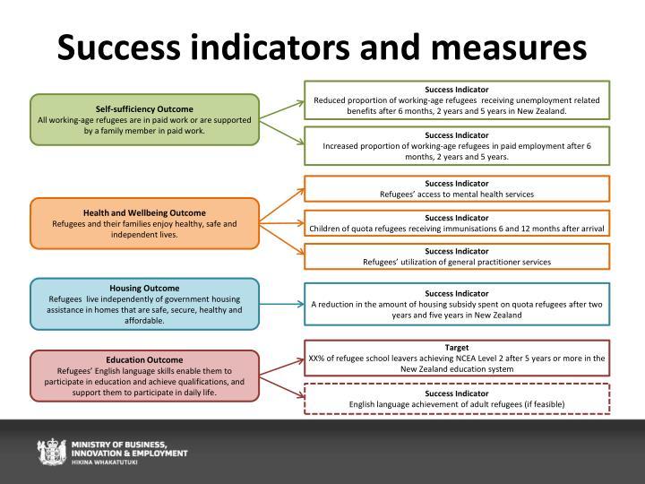Success indicators and measures