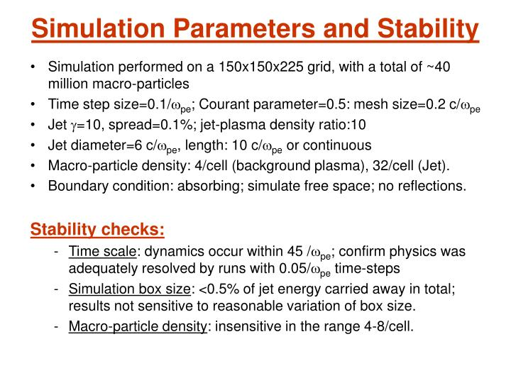 Simulation Parameters and Stability