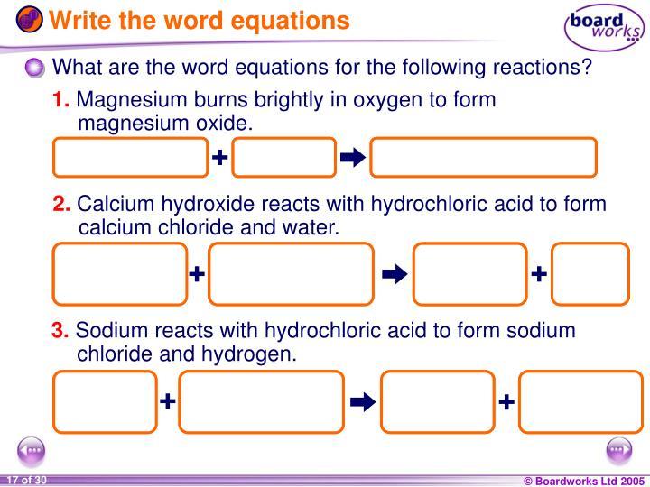 magnesium oxygen word equation