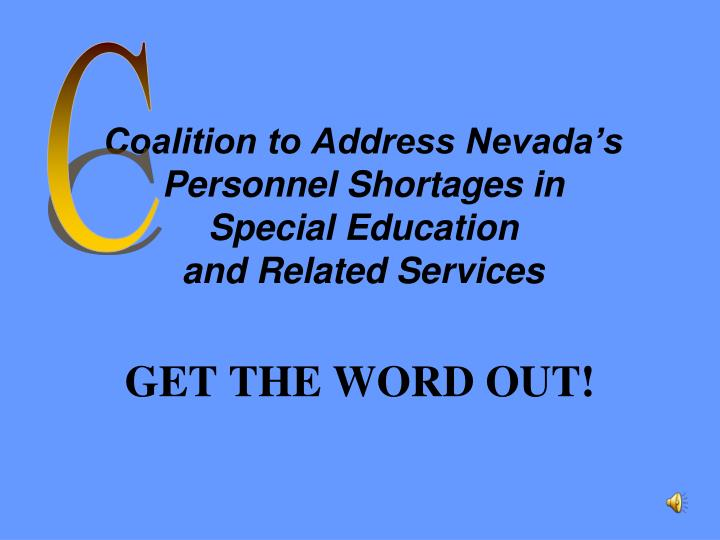 Coalition to address nevada s personnel shortages in special education and related services