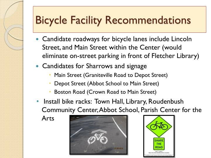 Bicycle Facility Recommendations