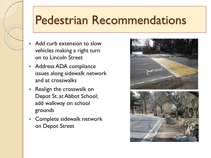 Pedestrian Recommendations