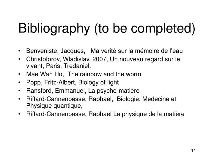 Bibliography (to be completed)