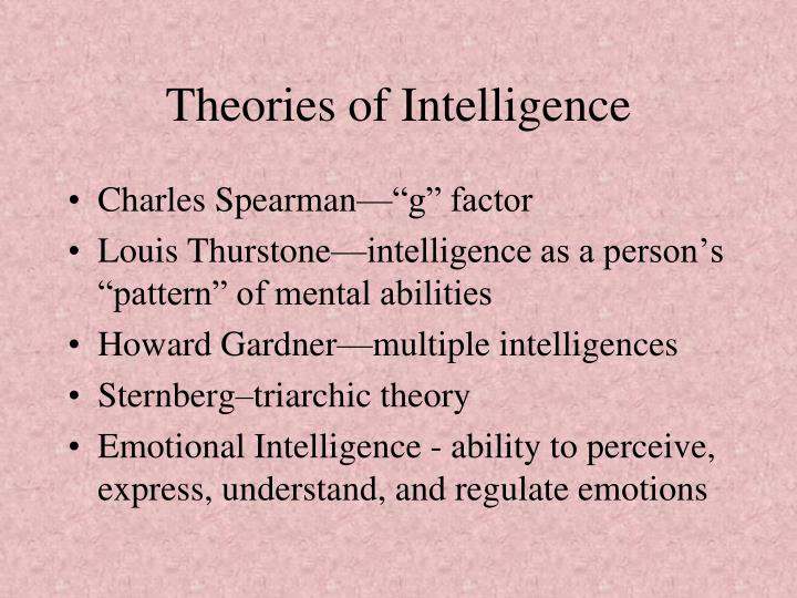 6 theories of intelligence According to this theory, intelligence is regarded as an adaptiveness which enables a creature to adjust itself to changing environment people holding this view believe in inborn all-round mental efficiency as a sign of intelligence according to this view, a person who can perform one intellectual.